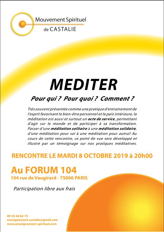 Affiche annonce conférence du 8 oct. 2019 au Forum 104 - Méditer, pour qui ? pour quoi ? comment ?